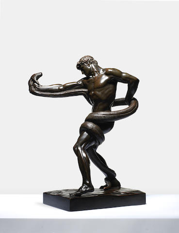 Frederic Leighton, 1st Baron Leighton P.R.A., R.W.S., known as Sir Frederic Leighton (British, 1830-1896): An important bronze figure of 'An Athlete Wrestling A Python'