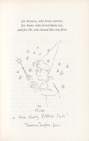 "ROWLING (J.K.) Harry Potter and the Philosopher's Stone, first Large Print Edition, WITH AN ORIGINAL INK SKETCH BY THOMAS TAYLOR on dedication page, inscribed ""To Mike a true Harry Potter fan! Thomas Taylor 2001"", Bloomsbury, 2001"