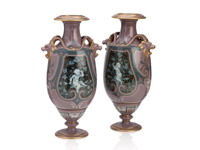 A pair of  Sèvres pâte-sur-pâte vases Late 19th century
