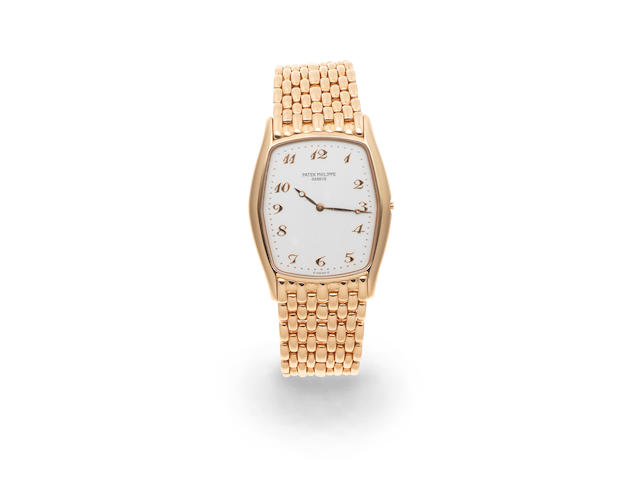 Patek Philippe. An 18K rose gold tonneau form manual wind bracelet watch  Gondolo, Ref: 3842R, Circa 1995