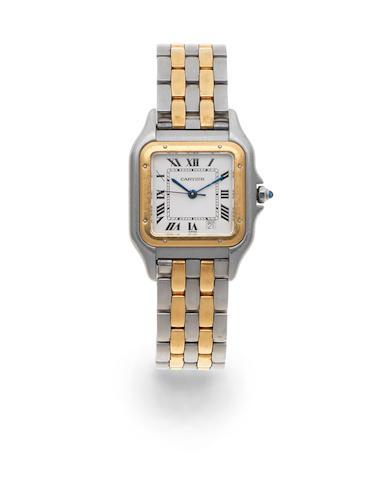 Cartier. A mid-size stainless steel quartz calendar bracelet watch  Panthere, Circa 1990