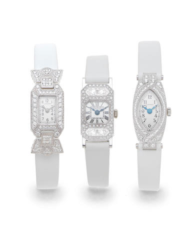 Longines. A set of three lady's 18K white gold and diamond set manual wind wristwatches Comprising of References L2.228.7, L2.223.7 and L2.227.7 Sold 11 December 2008