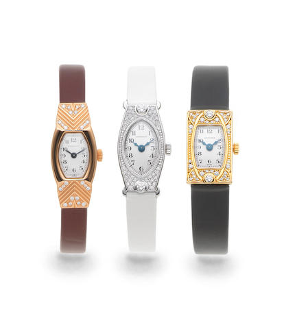 Longines. A set of three lady's 18K yellow, white and rose gold and diamond set manual wind wristwatches Ref: Comprising; L2.234/7, Circa 2008