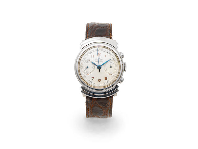 Rolex. A stainless steel manual wind chronograph wristwatch with stepped hooded lugs Ref: 2917, Circa 1938