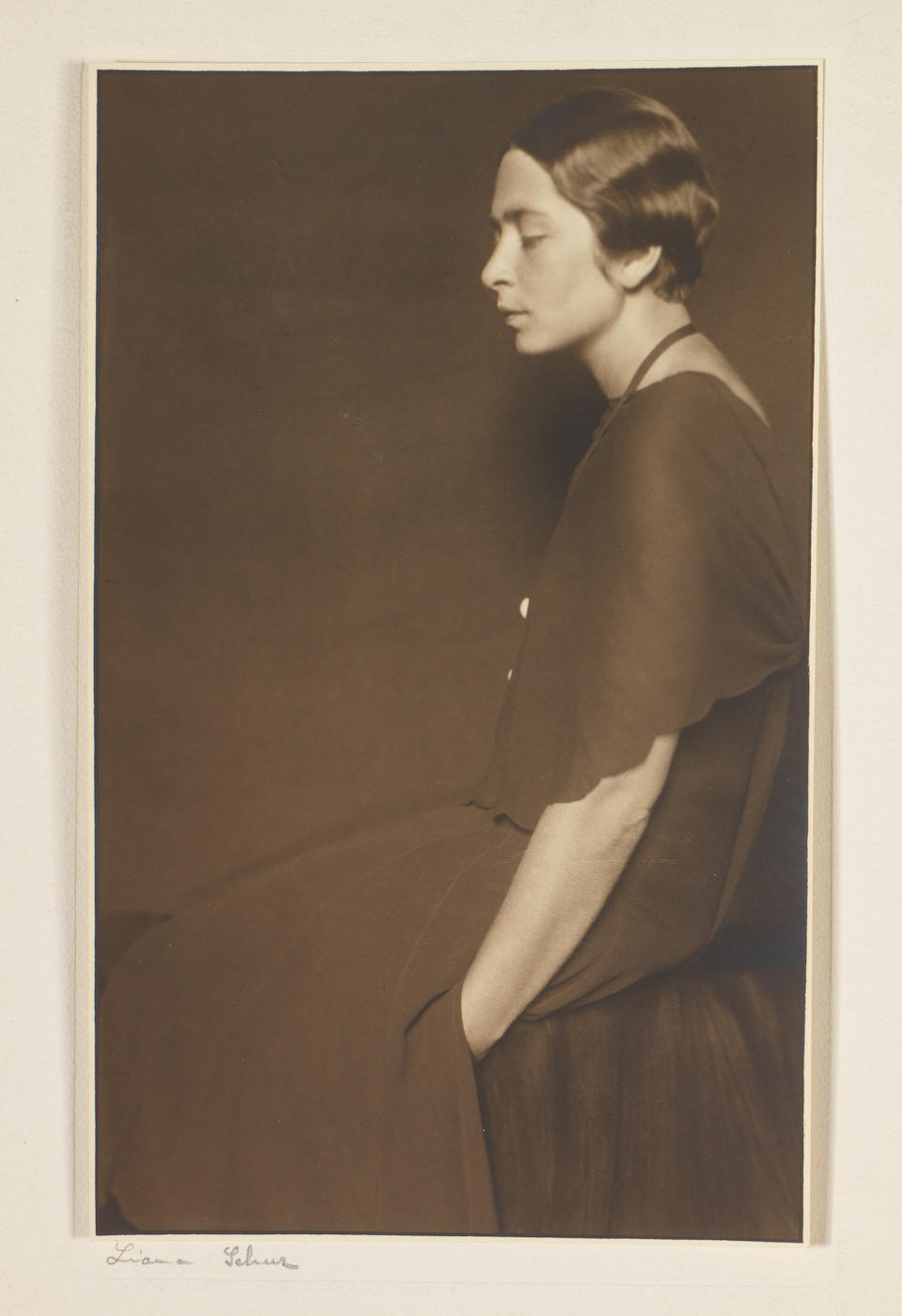 The Hon John Collier (British, 1850-1934) Mrs Dalahaye (to be sold with a group of seven photographs of the sitter, including four by Madame Yevonde, and various other documents.)