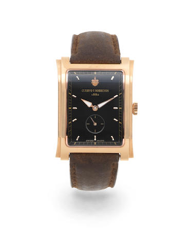 Cuervo Y Sobrinos. An 18K rose gold manual wind rectangular wristwatch  Prominente, Ref: 01015, Sold 2nd October 2012
