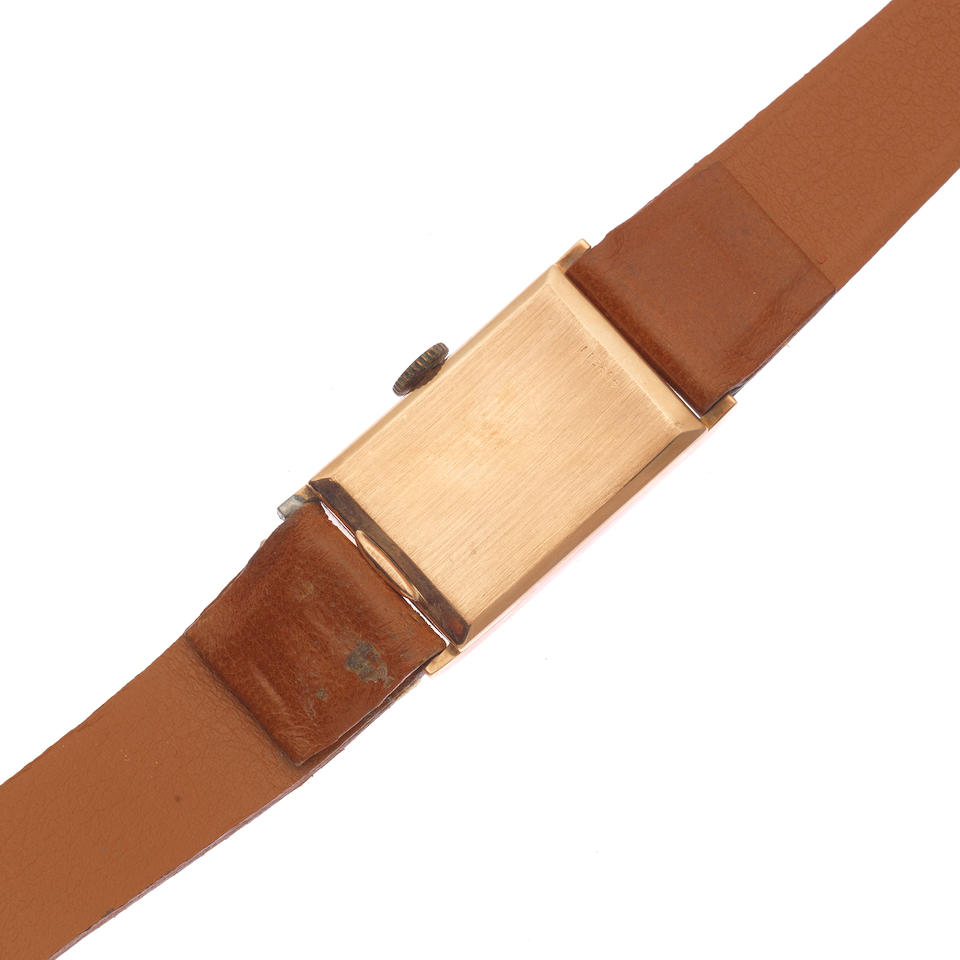 Alpina. A 14K rose gold manual wind rectangular wristwatch Circa 1940