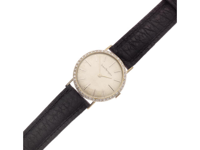 Girard Perregaux. A white gold plated and diamond set manual wind wristwatch Ref: B2140, Circa 1960