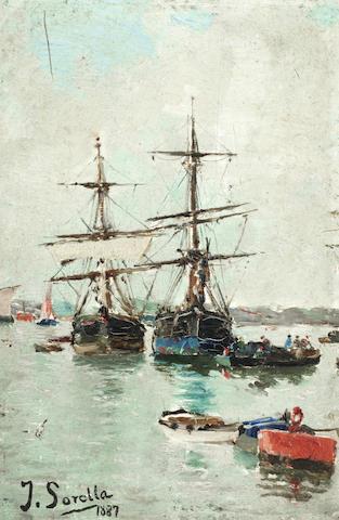 Joaquin Sorolla y Bastida (Spanish, 1863-1923) Boats in a harbour