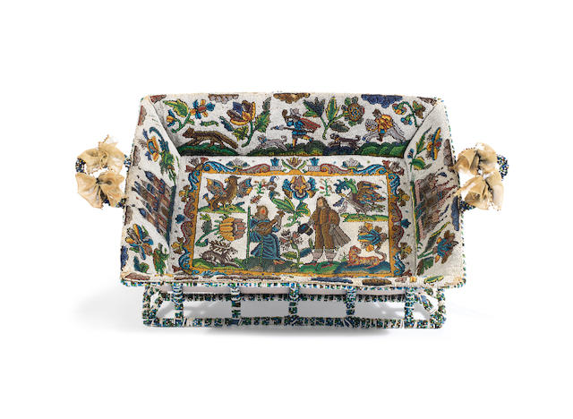 A Charles II beadwork basket, circa 1660 and later
