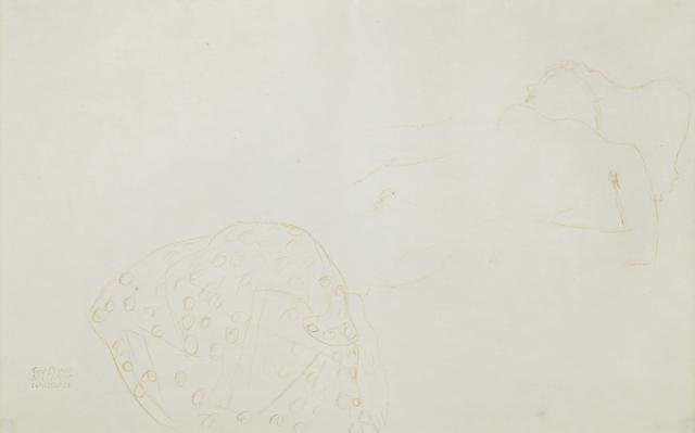 Gustav Klimt (1862-1918) Auf dem Rücken liegender Akt nach rechts (Executed circa 1905 - 1906)