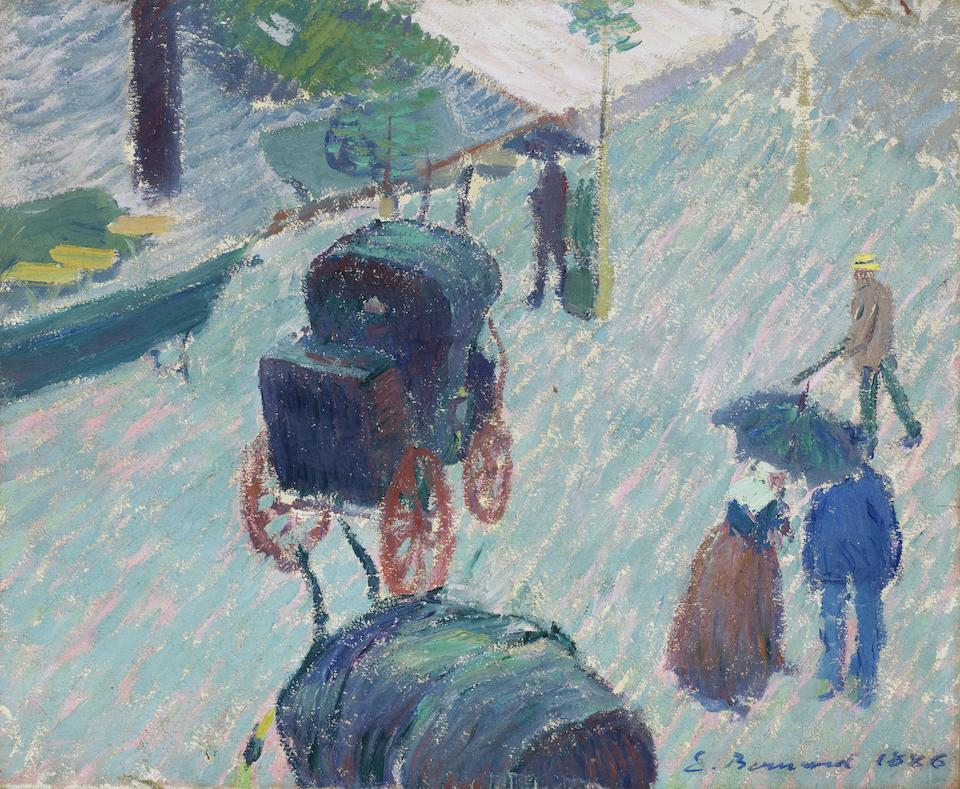 Emile Bernard (1868-1941) Le jardin public  à Mayenne (Painted in 1886)
