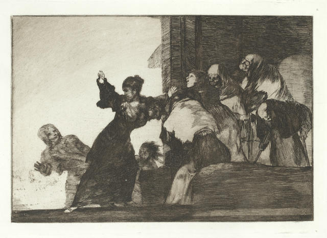 Francisco José de Goya y Lucientes (Spanish, 1746-1828) Disparate Pobre, plate 11 from Los Proverbios Etching and aquatint in sepia, 1824/64, on laid, ninth edition, printed in the Calcografia, Madrid, 1937, with wide margins, 245 x 350mm (9 5/8 x 13 3/4in)(PL)