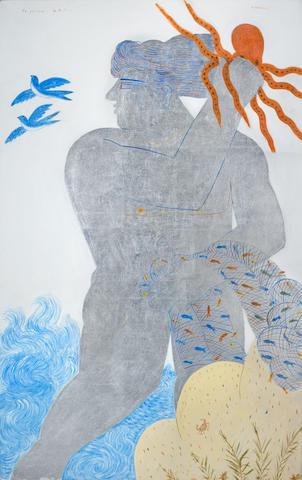 Alecos Fassianos (Greek, born 1935) Le pêcheur de la lune 134 x 86 cm.