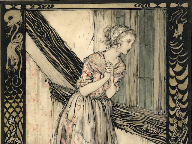 "RACKHAM (ARTHUR) Cinderella, in rags, standing at a window, within a framework of mice, mystical creatures and plants, from ""Cinderella"", [1919]"