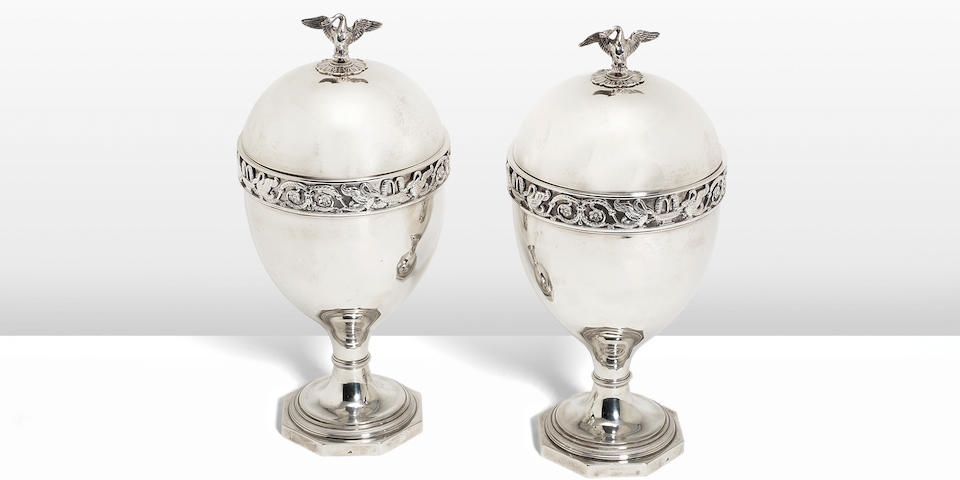 A pair of 19th century Dutch silver chestnut vases and covers by Diederik Lodewijk Bennewitz & Son, Amsterdam 1821  (2)