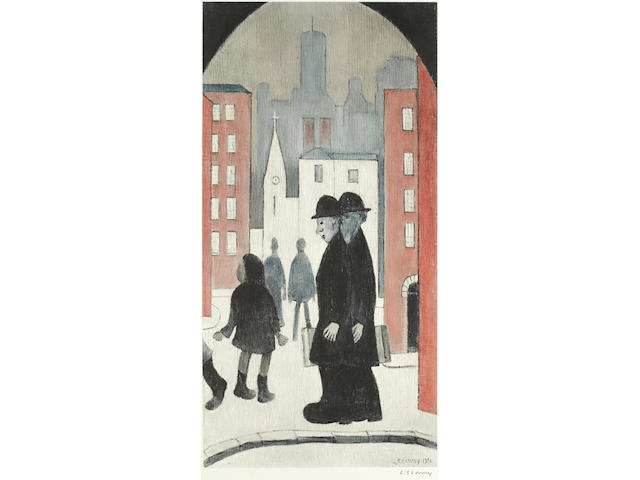 Laurence Stephen Lowry R.A. (British, 1887-1976) Two Brothers Offset lithograph printed in colours, on wove, signed in pencil, with the Fine Art Trade Guild blindstamp, with margins, 605 x 305mm (23 7/8 x 12in)(I)