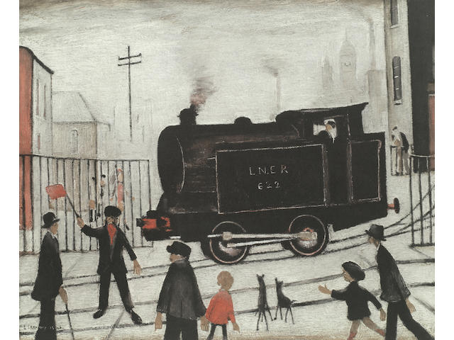 Laurence Stephen Lowry R.A. (British, 1887-1976), Level Crossing with Train Offset lithograph printed in colours, 1973, on wove, signed in pencil, from an edition of 750, published by Patrick Seale Prints, London, 460 x 560mm (18 1/8 x 22in)(I)