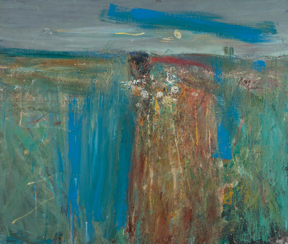 Joan Eardley RSA (British, 1921-1963) Flowers between Cornfields 102 x 120 cm. (40 3/16 x 47 1/4 in.)
