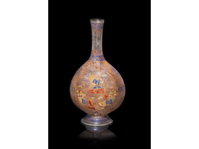A Mamluk style enamelled glass bottle Europe, 19th Century