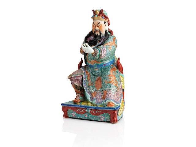 A rare famille rose figure of Guandi By Nie Shengfa zao, Republic