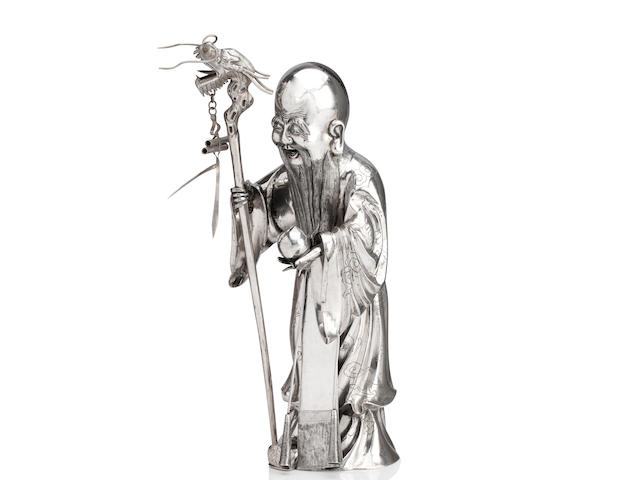 A silver figure of Shoulao and staff By Feng Xianghe, Shanghai, 19th century