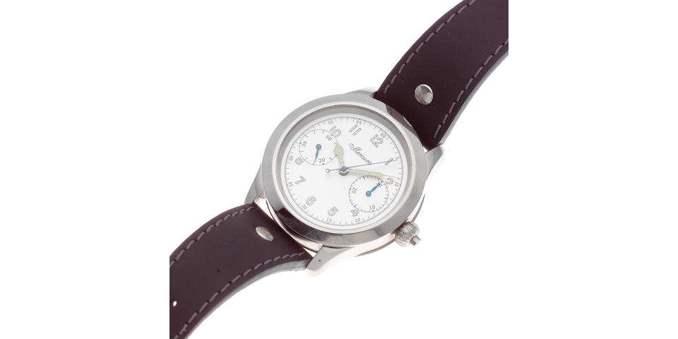 Mercure. A stainless steel manual wind single button chronograph wristwatch  Monopulsante 125 Anniversary, Sold 27th March 2012