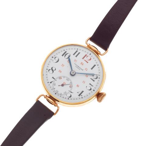 A 14K gold manual wind wristwatch Circa 1920
