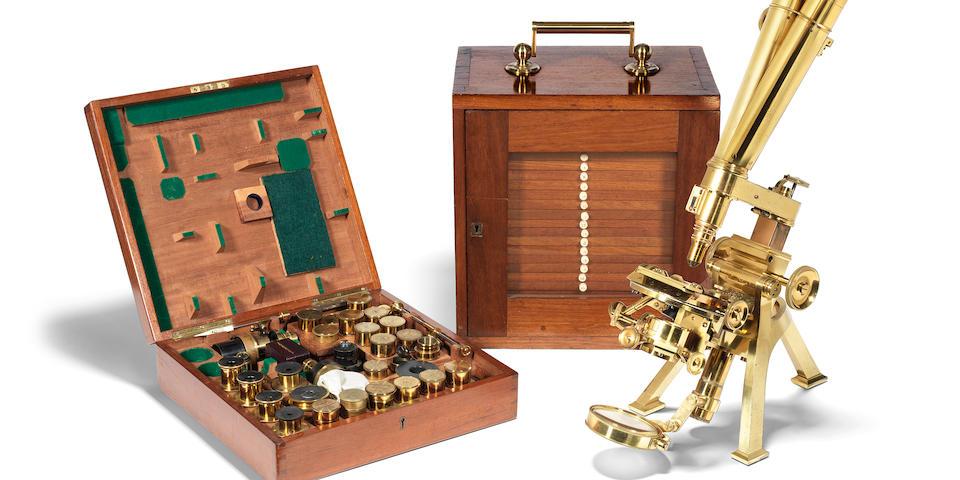 "A fine Powell & Lealand ""No. 1"" compound monocular/binocular microscope,  English,  dated 1897,"