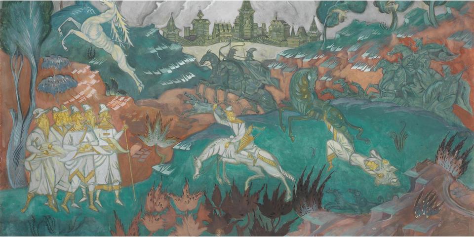 Dmitrii Semenovich Stelletsky (Russian, 1875-1947) 'The Stag Hunt'