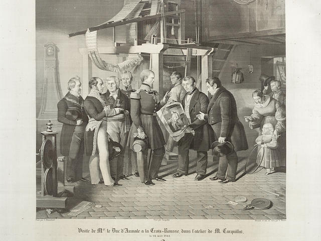 Francois Michel-Marie Carquillat (1803-1884): 'Visite de Mgr le Duc D'Aumale à la Croix-Rousse, dans l'atelier de M. Carquillat',