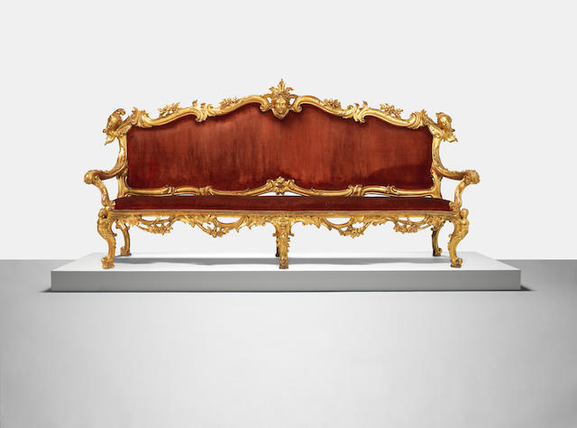 A pair of large Italian mid 18th century giltwood 'portego' sofas circa 1740, possibly Roman (2)