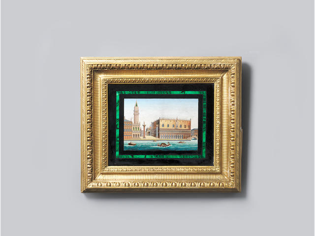 A pair of third quarter 19th century Italian micro mosaic panels of views of Venice