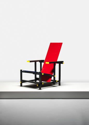 Red Blue Chair (Rietveld model 1918) executed by Gerard van de Groenekan