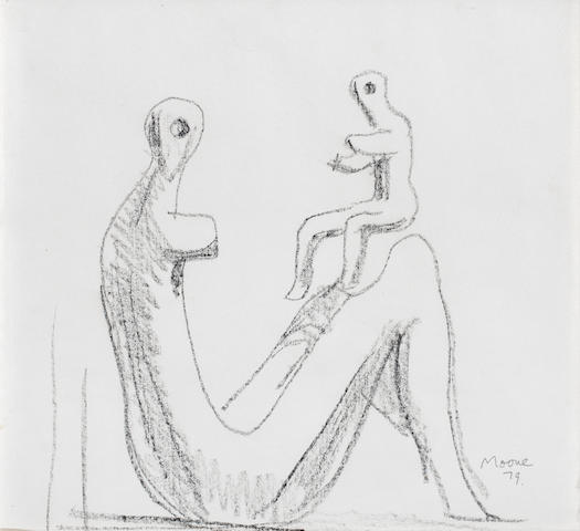 Henry Moore O.M., C.H. (British, 1898-1986) Sketch of 'Mother and Child: Fragment 34.2 x 37.2 (13 1/2 x 14 3/4 in.) (HMF 79 (181))