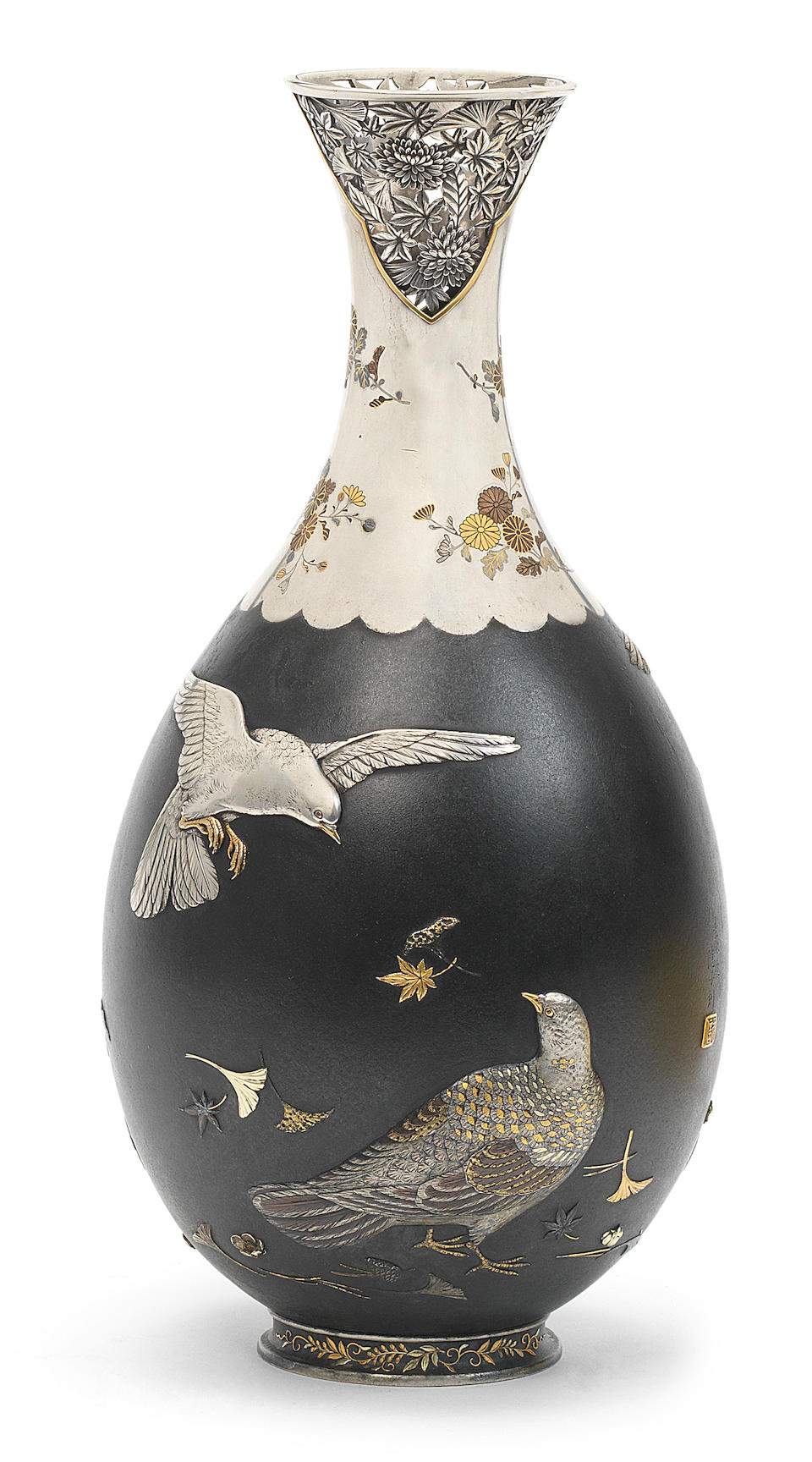 An inlaid silver and shakudo pear-shaped vase  By Yamada Motonobu (1847-1897) for the Ozeki Company, Meiji era (1868-1912), late 19th century