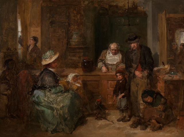 Thomas Faed RA HRSA (British, 1826-1900) From Hand to Mouth 44.5 x 57.5 cm. (17 1/2 x 22 5/8 in.)