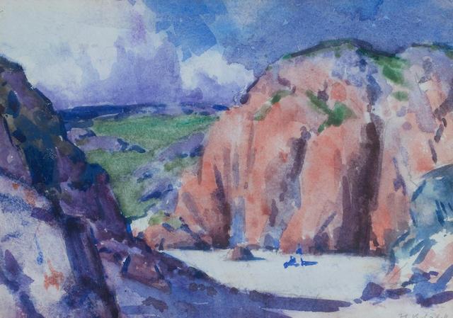 Francis Campbell Boileau Cadell RSA RSW (British, 1883-1937) Port Bhan, Iona 12 x 17 cm. (4 3/4 x 6 11/16 in.)