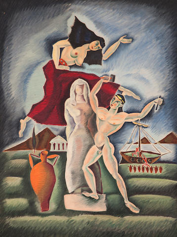Nikos Engonopoulos (Greek, 1910-1985) The Poet and his Muse 85.5 x 63 cm.