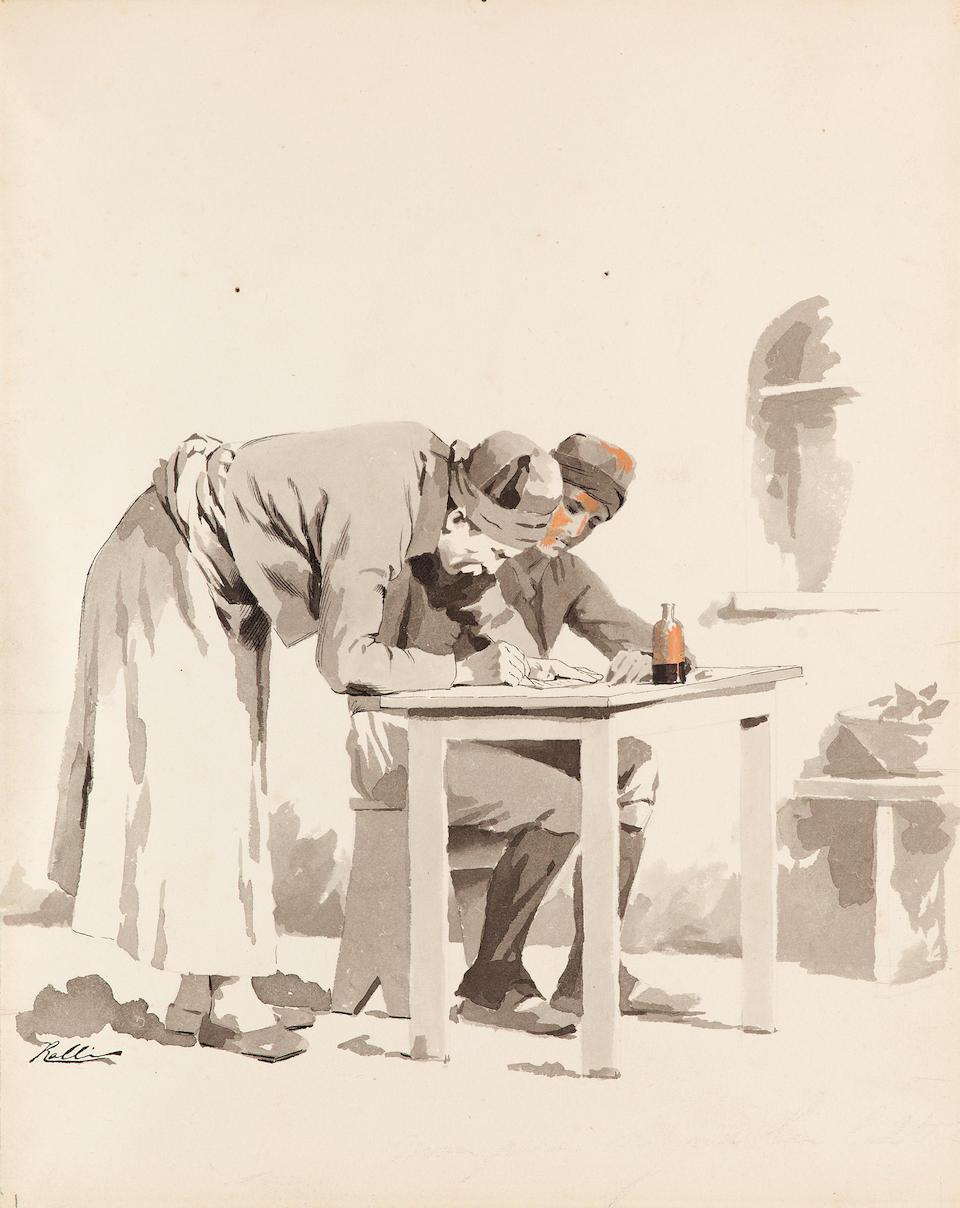 Théodore Jacques Ralli (Greek, 1852-1909) Thirteen drawings for the novel by Dimitrios Vikelas 'Loukis Laras (1879)' ((13))