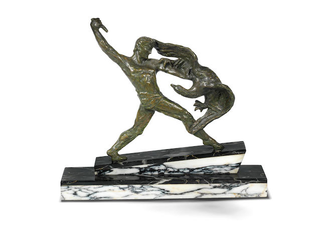 'the combat' a patinated bronze study of a warrior with eagle by decoux SIGNED IN CAST, CIRCA 1930