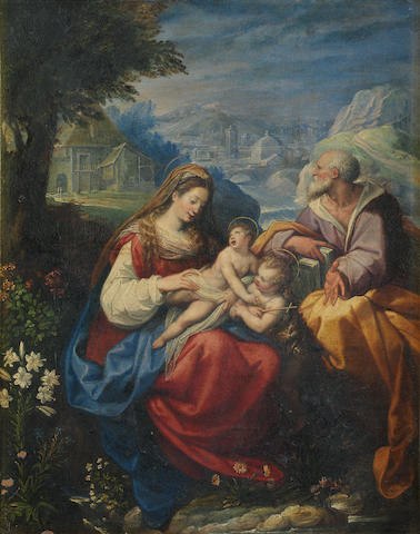 Jacopo Zucchi (Florence circa 1540-circa 1590 ROme) The Holy Family with the Infant Saint John the Baptist in a carved 19th century Florentine frame