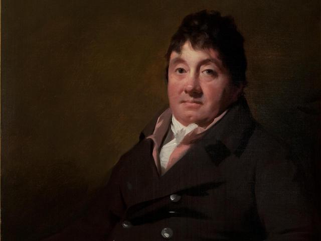 Sir Henry Raeburn R.A. (Stockbridge 1756-1823 Edinburgh) Three-quarter length portrait of Louis Cauvin in brown coat  89 x 70 cm. (35 1/16 x 27 9/16 in.) (In 'Raeburn' Frame )
