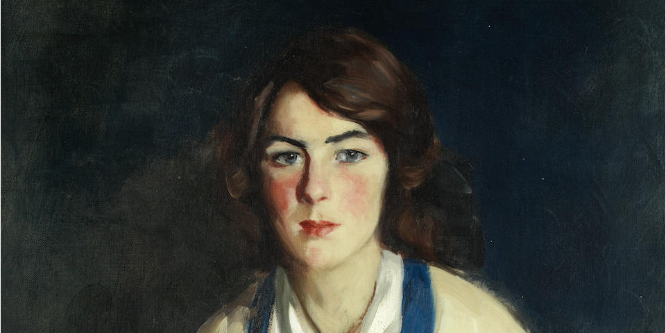 Robert Henri (1865-1929) Portrait of Miss Mildred Sheridan 32 x 26in