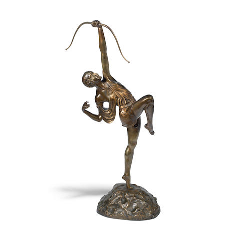 'Diana' a large art deco gilded bronze study by Pierre Le Faguays SIGNED IN CAST, CIRCA 1925