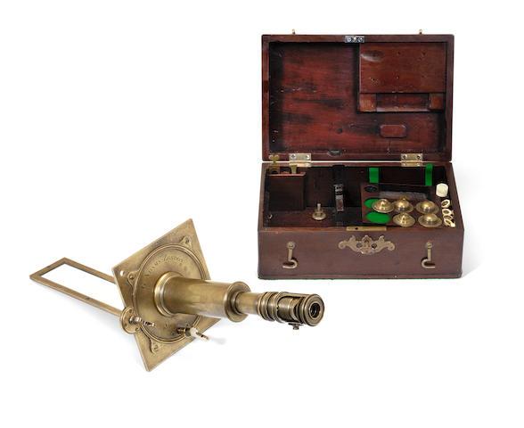A George Adams Senior brass solar microscope,  English, circa 1760,