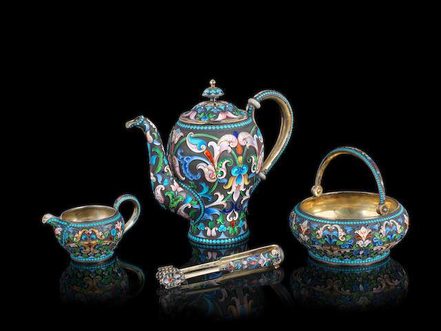 A silver-gilt and enamel tea set Ivan Saltykov, Moscow, 1898-1908