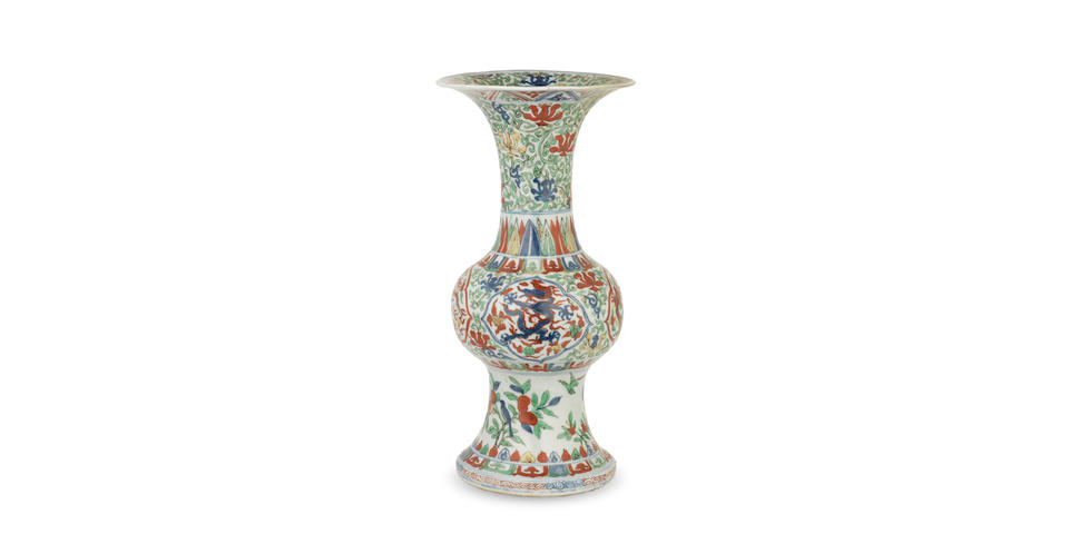 A very rare wucai 'dragon' vase, gu Wanli six-character mark and of the period