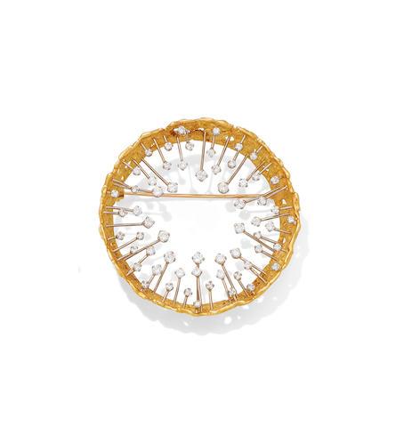 A diamond 'crown' brooch, by John Donald,