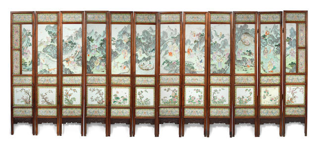 A very rare Imperial famille rose twelve-leaf screen   Jiaqing